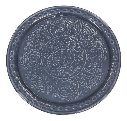 Blue Rose Pattern Metal Plate 47cmD
