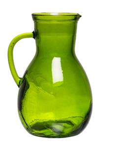 RECYCLED GLASS JUG H25cm-GREEN