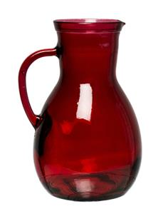 RECYCLED GLASS JUG H25cm-RED