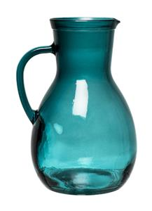 RECYCLED GLASS JUG H25cm-TEAL